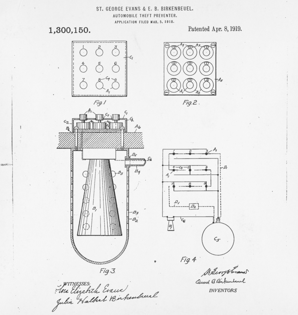 The patent drawing from the original car alarm.